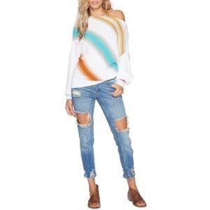 Free People Women Sweater Spectrum Stripe